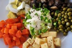 沙拉用蘑菇和乳酪豌豆 库存照片