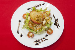 沙拉用青纹干酪和苹果 免版税库存图片