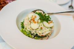 沙拉用鹌鹑蛋、绿色和红色鱼子酱 库存图片