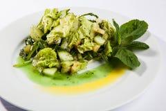 沙拉用黄瓜和三文鱼 免版税库存照片