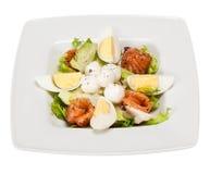 沙拉用莴苣,用卤汁泡的三文鱼,无盐干酪球,鸡蛋, oli 库存照片