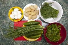 沙拉的准备的产品 免版税库存图片