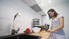 沙拉的准备 健康厨房蔬菜 烹调晚餐 股票录像