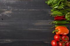 沙拉蓬蒿、甜点和辣椒的成份用在黑暗的木背景的西红柿 库存照片
