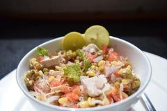 沙拉绿豆新芽、石灰、豆腐、葱和蕃茄 免版税库存照片