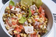 沙拉绿豆新芽、石灰、豆腐、葱和蕃茄 库存图片