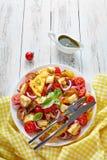 沙拉panzanella用蕃茄,油煎方型小面包片,蓬蒿 免版税库存照片