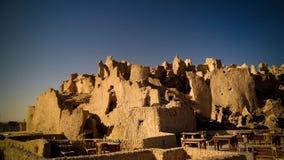 沙梨老市废墟看法在Siwa绿洲,埃及的 免版税库存图片