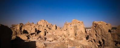 沙梨老市废墟看法, Siwa绿洲在埃及 免版税图库摄影
