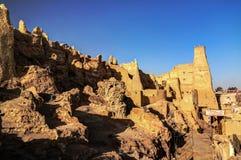 沙梨老市废墟看法, Siwa绿洲,埃及 免版税库存图片