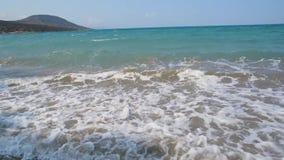 沙滩海岸波浪绿松石水阴云密布天,希腊 影视素材