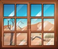 以沙漠为目的一个窗口 皇族释放例证