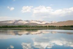 沙漠和湖风景 免版税图库摄影