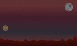 沙漠和行星在夜空间风景 库存例证