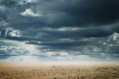沙漠和cloudscape抽象背景  免版税库存图片