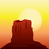 沙漠在日落的岩层 库存照片