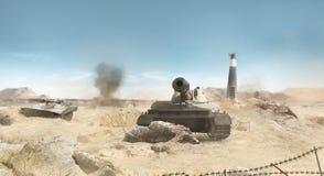 沙漠坦克战场背景 免版税库存图片