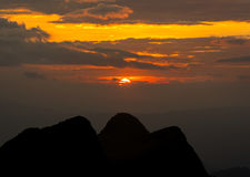 沙漠埃及山日落 库存图片