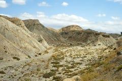 沙漠塔宾斯沙漠自行车赛 干旱的风景在西班牙 库存照片