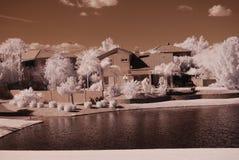 沙漠家庭湖 库存图片