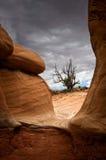 沙漠岩石和风暴 免版税库存照片