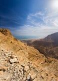沙漠峡谷和死海 免版税库存图片