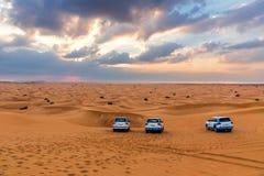 沙漠徒步旅行队在迪拜,团结的Ara 免版税库存图片