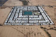 沙漠拖车停车场 免版税库存照片