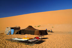 沙漠撒哈拉大沙漠帐篷 免版税库存图片