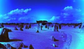 沙漠晚上石峰 库存图片