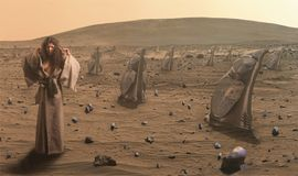 沙漠未来派妇女 图库摄影