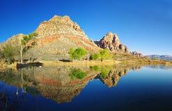 沙漠湖反映 免版税库存图片