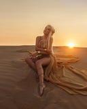 沙漠的美丽的女王/王后一件豪华金礼服的 库存照片