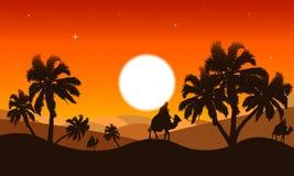 沙漠的风景黄昏的 向量例证