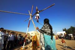 沙漠节日在Jaisalmer 免版税图库摄影