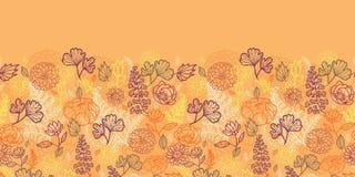 沙漠花和叶子水平无缝 免版税库存图片