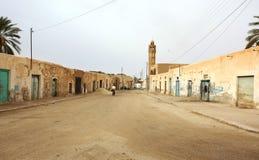 沙漠街道村庄 免版税库存照片