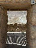 沙漠视图在马萨达堡垒  库存图片