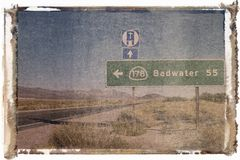 沙漠路标 免版税库存照片