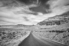 沙漠路的黑白图片,美国 免版税库存照片