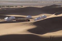 沙漠阵营撒哈拉大沙漠摩洛哥 库存照片