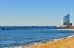 沙漠风景在海岸巴塞罗那的夏天 库存照片