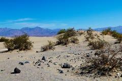 沙漠风景,沙丘,山在背景中 免版税库存图片