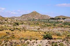 沙漠风景,阿尔梅里雅省,西班牙。 库存照片