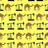 沙漠骆驼和油泵无缝的样式 向量背景 向量例证