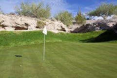沙漠高尔夫球绿色 库存图片