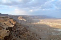 沙漠masada视图 免版税图库摄影