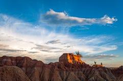 沙漠Mesa和金黄光视图  库存照片