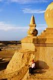 沙漠stupa 免版税库存照片