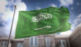 沙特阿拉伯在蓝天大厦背景的旗子3D翻译 免版税库存图片